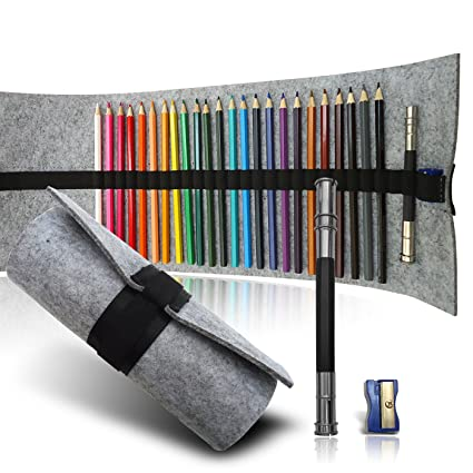 Range Of 24 Colored Pencils Set Includes Pencil Sharpener And Extender All Held In