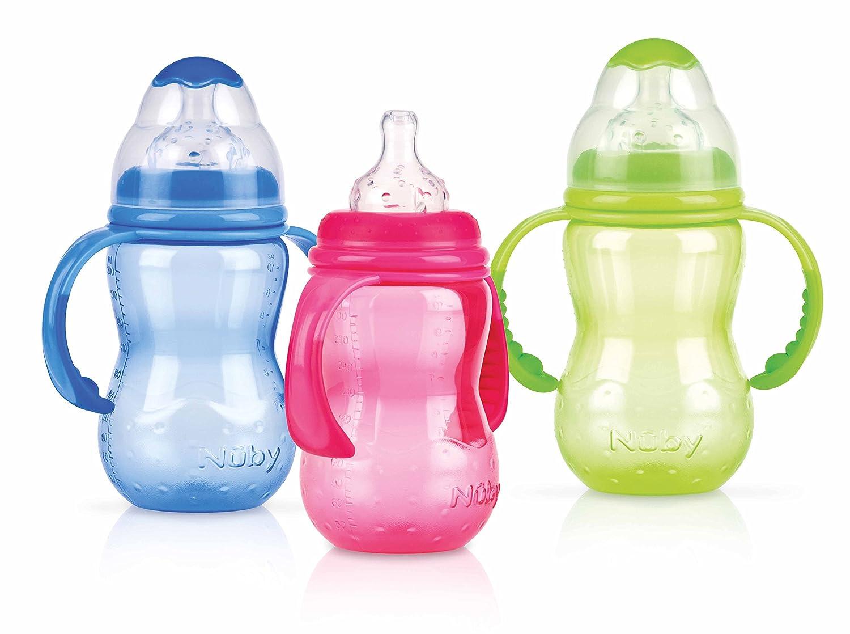 Weithalsflasche aus Polypropylen 300ml mit Griff und auslaufsicherem Sauger aus Silikon f/ür variablen Trinkfluss Farbe nicht frei w/ählbar N/ûby 1095 ab 4 Monate