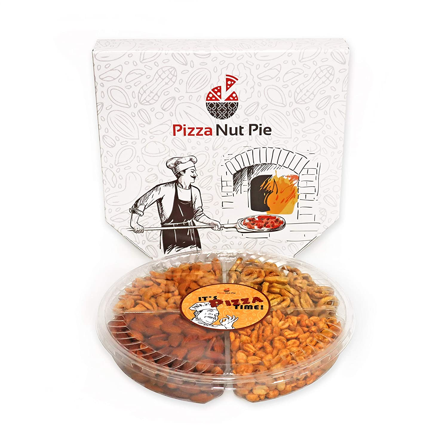 Pizza Nut Pie - Holiday Nuts Gift Basket – Mother's Day, Father's Day, Birthday, Party, Gifts for Him, Her, Summer Snack- Pretzels & Pizza Flavored Cashews, Almonds, & Peanuts, Kosher