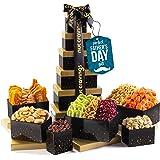 Fathers Day Dried Fruit & Nut Gift Basket, Black Tower + Ribbon (12 Piece Assortment) - Prime Arrangement Platter, Birthday C