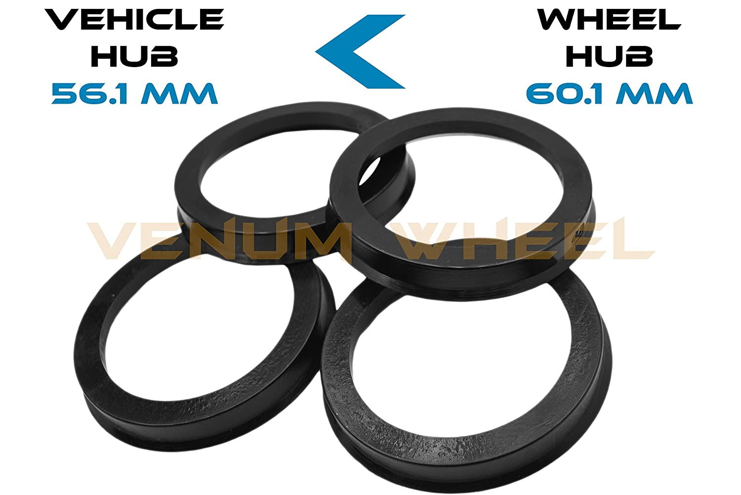 4 Hub Centric Rings 56.1 ID To 60.1 OD Black Polycarbonate Material ( Vehicle 56.1mm to Wheel 60.1) VENUM WHEEL ACCESSORIES