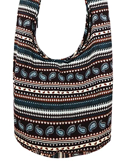 24e67fad2dc2c Amazon.com  Lovely Creations Tribal Hobo Bohemian Hmong Sling Crossbody Bag  Woven Cotton Shoulder Hippie Gypsy Bag (Tribal Dark Red)  Home   Kitchen
