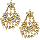 Jewellity Kundan Gold Leaf Chandbali Earrings for Women ERK-504