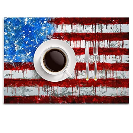 Amazoncom Krdfbxh Cool American Flag Draw Pattern Fashion Placemat