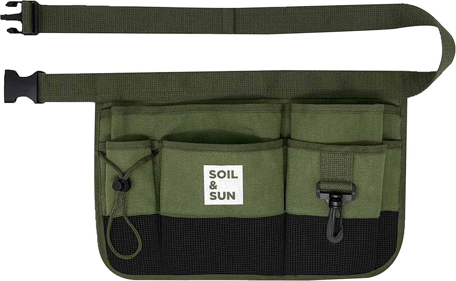 Soil and Sun Canvas Gardening Tool Belt – Comfortable and User-Friendly – Durable and Multifunctional Design (Green)