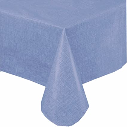 Good Premium Solid Color Vinyl Flannel Backed Tablecloth 52 X 70 Inch Oblong U2013  Slate Blue
