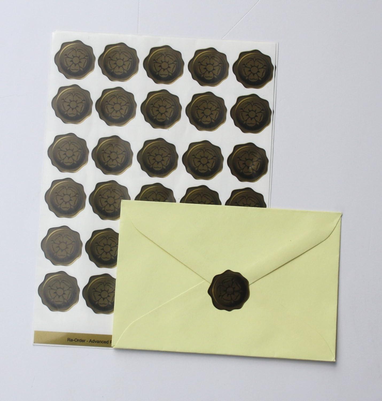 60 golden tudor rose 3d wax seal effect envelope stickers amazon co