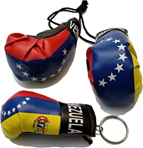 BUNFIREs 2 Pcs Venezuela Flag Mini Banner Boxing Gloves Rear View Mirror & Venezuelan Key Chain Country Flag Logo