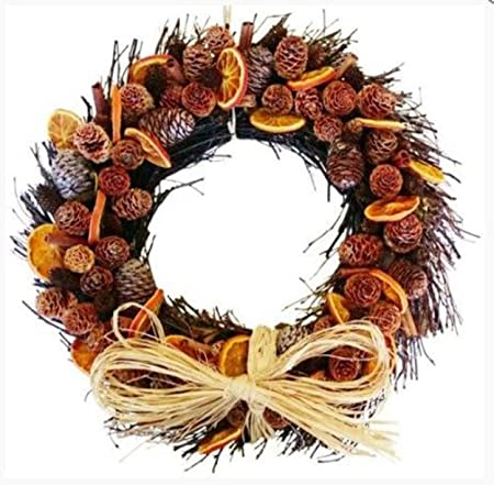 christmas wreath decorations cones and orange twig circle 27cm
