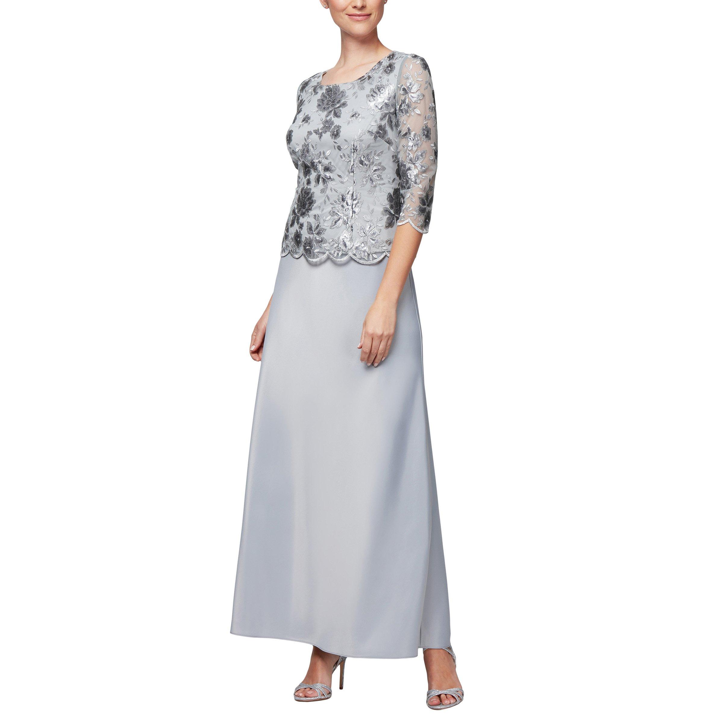 Alex Evenings Women's Long Mock Dress with Full Skirt (Petite and Regular Sizes), Dove, 14