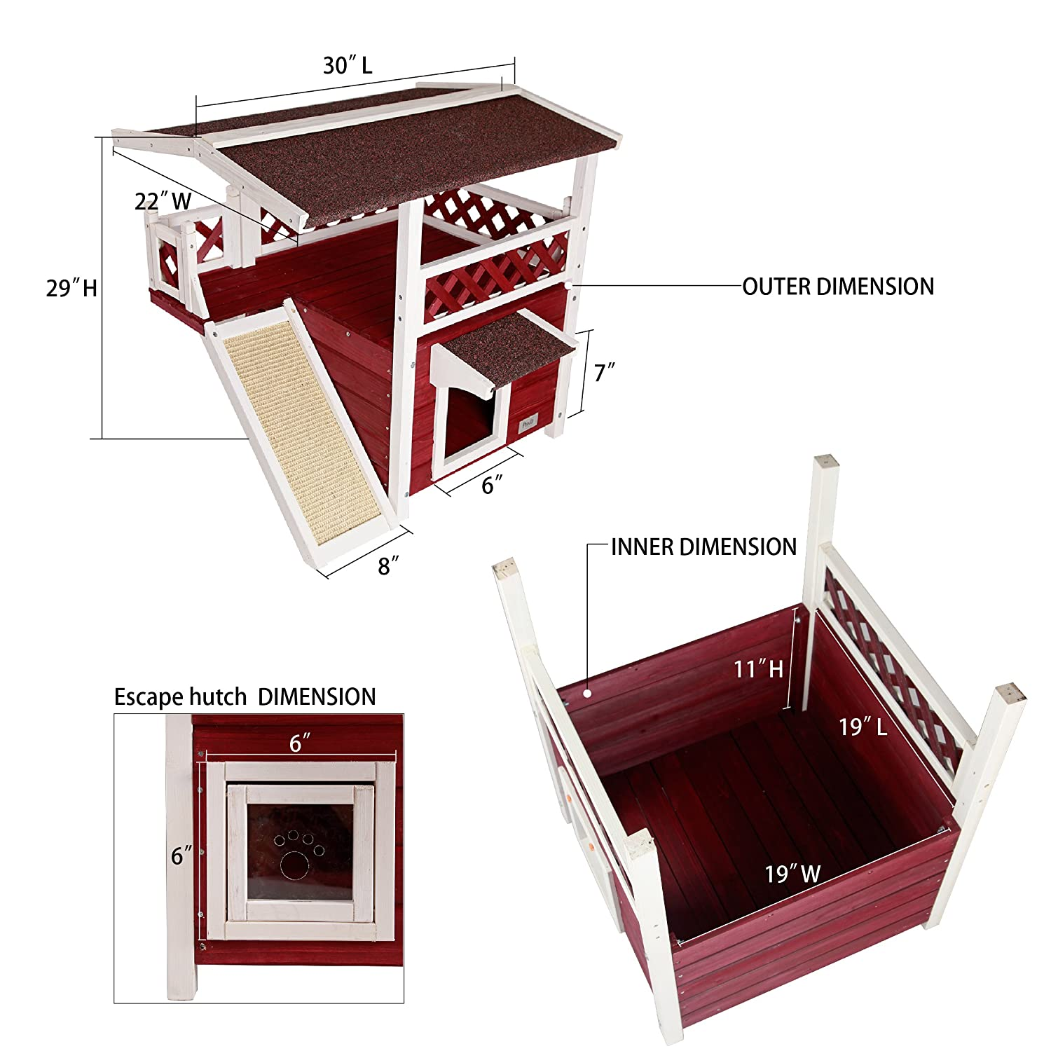 Amazon.com : Petsfit 2-Story Outdoor Weatherproof Cat House/Condo ...