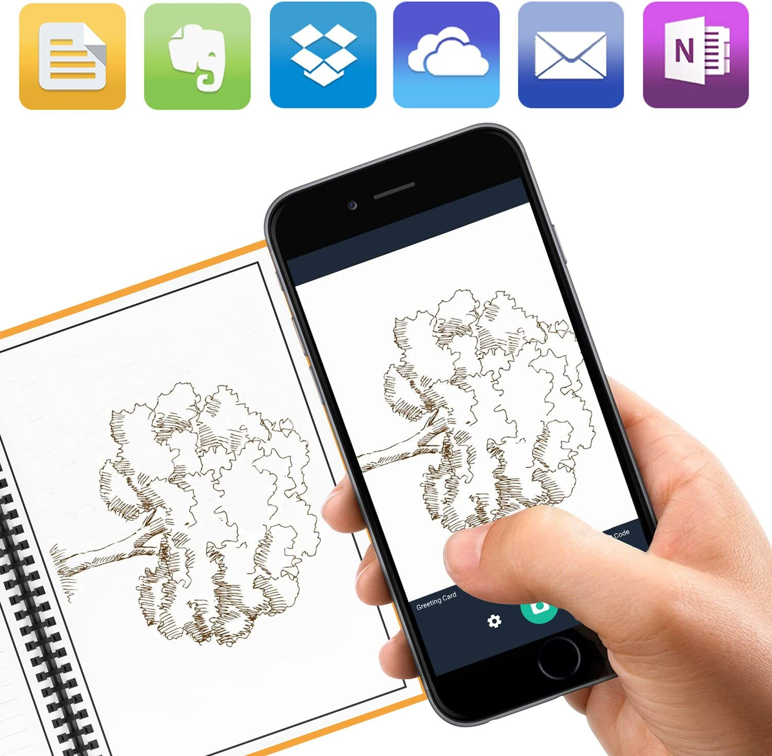 KYSTORE B5 Reusable Smart Erasable Notebook Wirebound Spiral Notebooks and Journals Hardcover Writing Note Book Executive Heat Erase Dot Grid Paper Wide Ruled Blank 60 Pages with Erasable Pen Orange