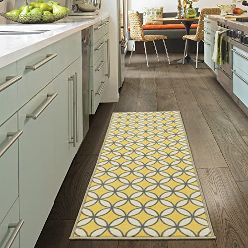 Ottomanson Studio Collection Star Trellis Design Runner Rug, 20 X 59 , Yellow