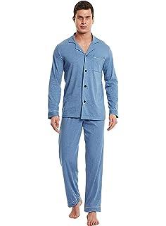 Aiboria Conjunto de Pijamas para Hombre, Algodón Traje de Pijama Largo para Hombre 2 Piezas Ropa De Dormir Conjunto Larga: Amazon.es: Ropa y accesorios