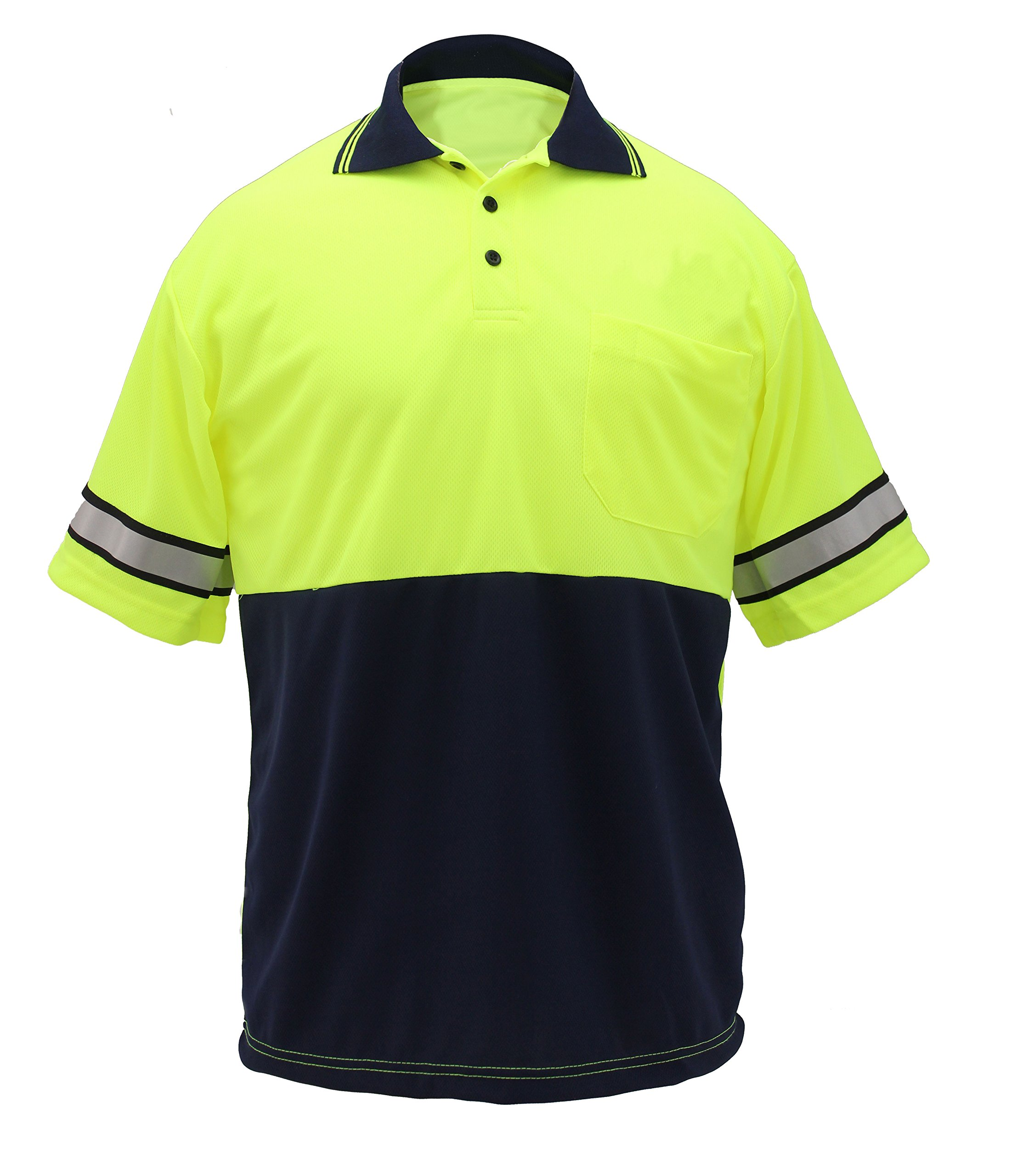 First Class Two Tone Polyester Polo Shirt with Reflective Stripes Lime Yellow/Navy (XL)