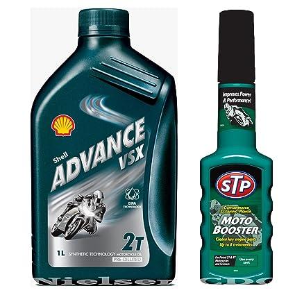Aceite mineral para bicicleta Shell Advance VSX 2T, 1 l y motor de ...
