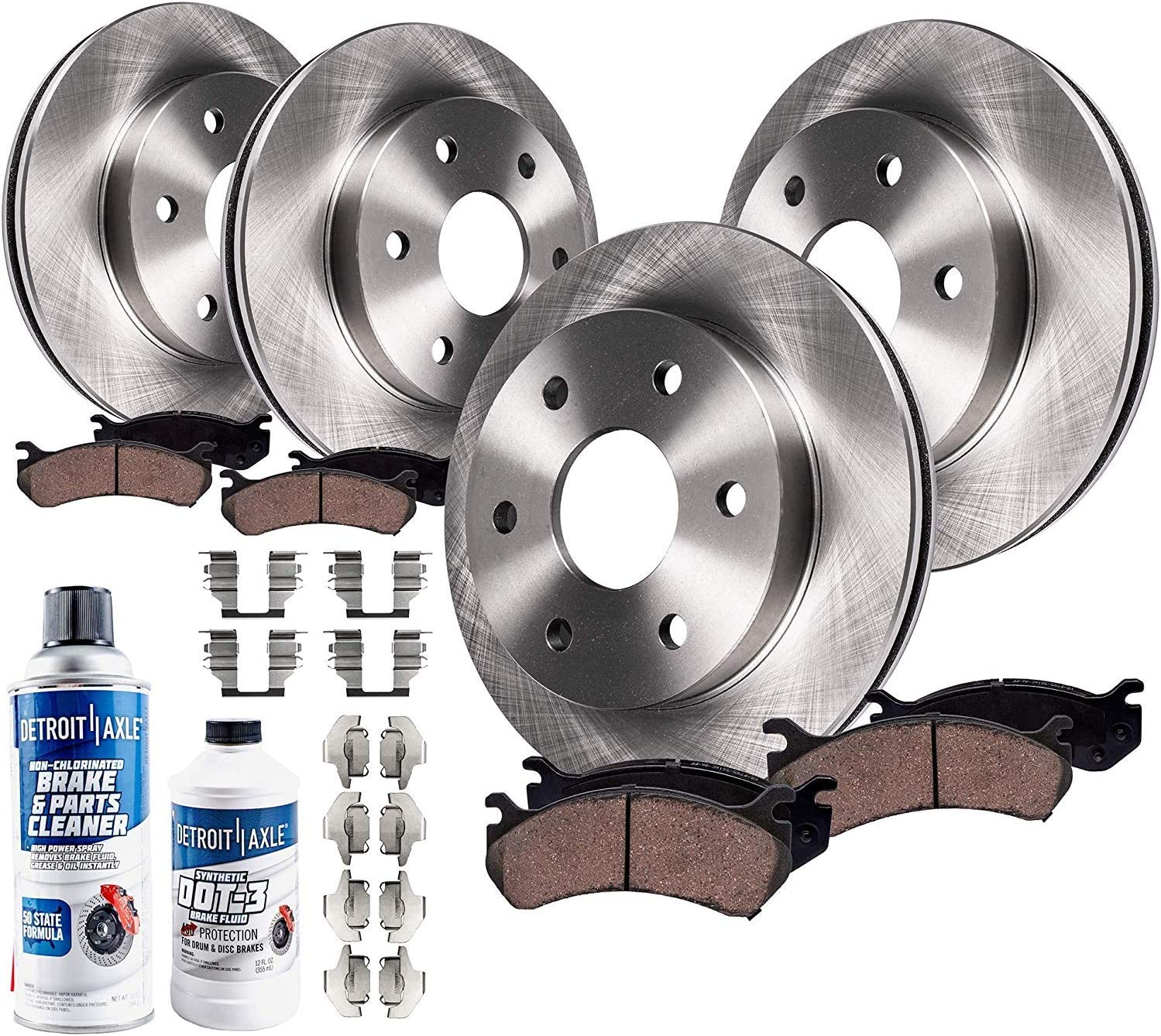 See Fiment Rear Disc Brake Rotors w//Ceramic Pads Hardware /& Brake Cleaner /& Fluid for 14-19 Escalade ESV Suburban Silverado Sierra 1500 Yukon 2 Tahoe Detroit Axle Pair