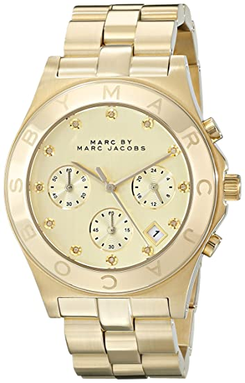 Marc Jacobs MBM3101 - Reloj para mujer con correa de acero, color dorado/gris: Amazon.es: Relojes