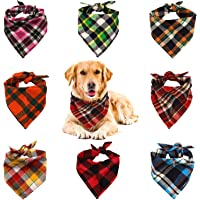 VIPITH 8 Pack Triangle Dog Bandana, Reversible Plaid Painting Bibs Scarf, Washable and…