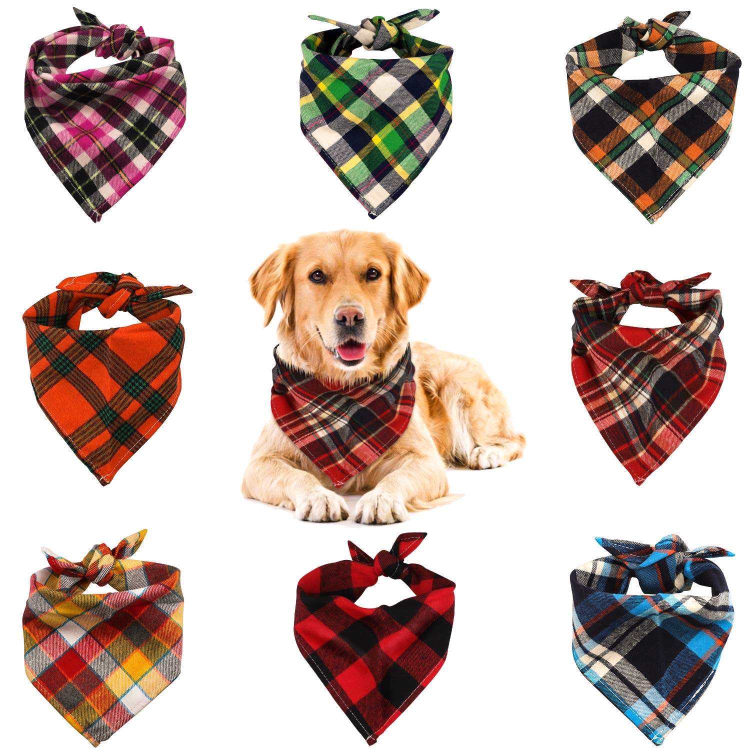 VIPITH 8 Pack Triangle Dog Bandana, Reversible Plaid Painting Bibs Scarf, Washable and Adjustable Kerchief Set for Dogs…