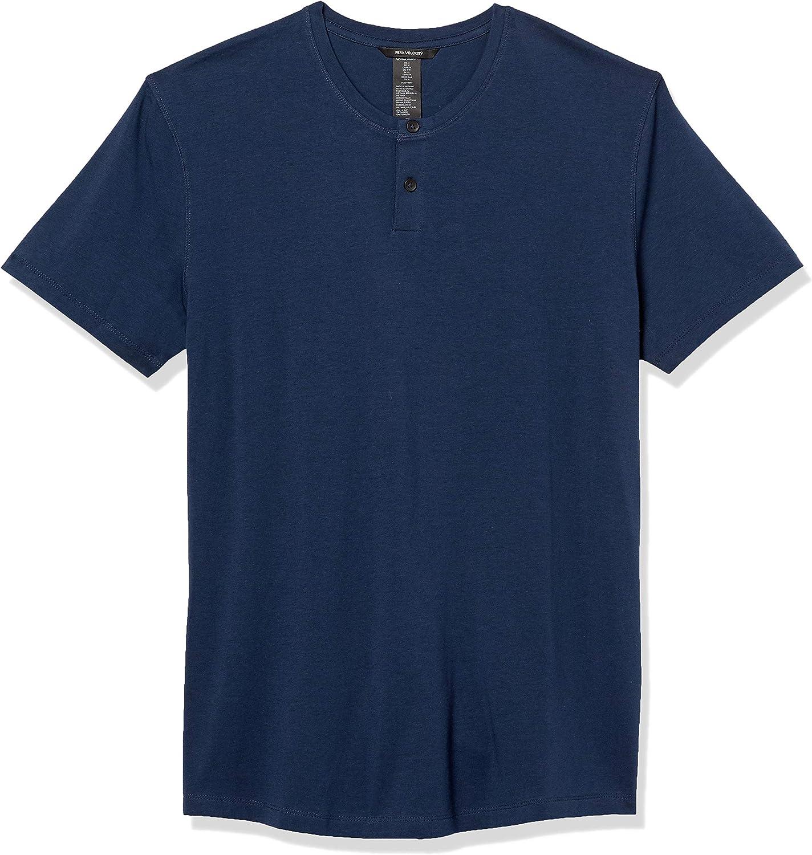Amazon Brand - Peak Velocity Men's Pima Cotton Modal Short Sleeve Henley Shirt