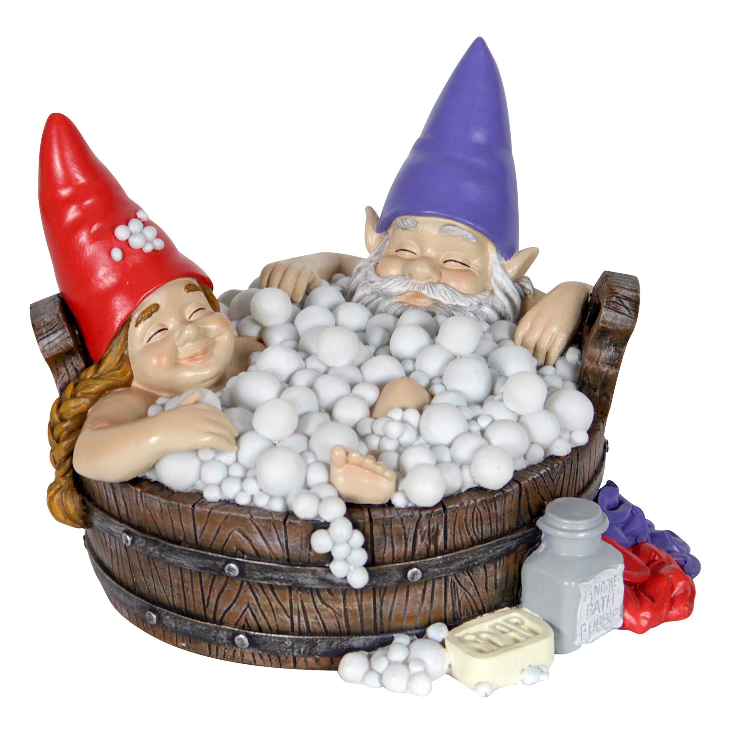 Exhart Solar Good Times Bubble Bath Garden Gnomes - Funny Gnome Couple in Bathtub w/Solar-Powered LED Lights - Bath Time Resin Gnomes Statue, Boy & Girl Gnome Garden Statue, 8.7'' L x 8.7'' W x 6.7'' H by Exhart
