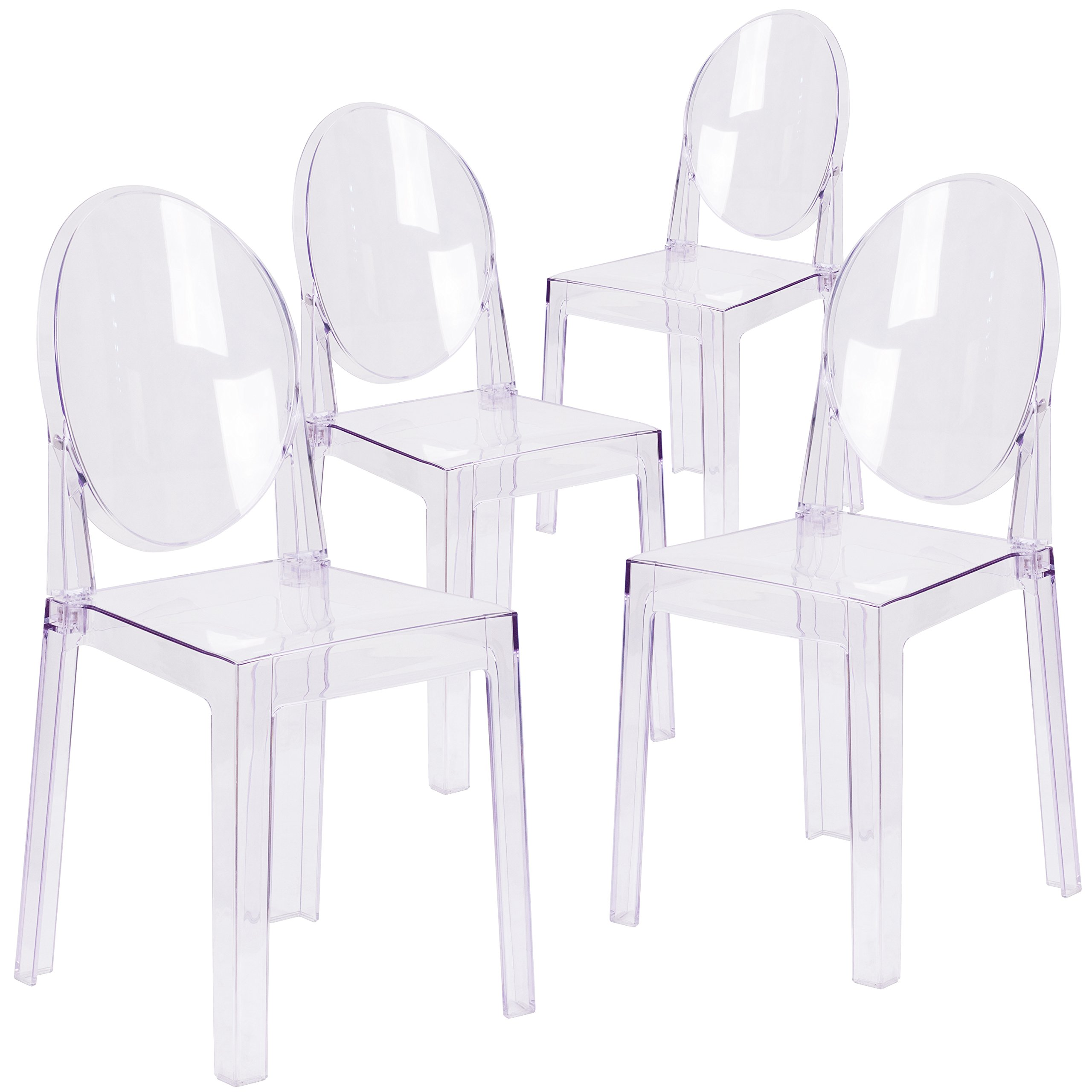 Flash Furniture 4 Pk. Ghost Chair with Oval Back in Transparent Crystal by Flash Furniture