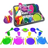 Pretend and Play Childrens Kitchen Dishes Set for Kids, 27 Piece set