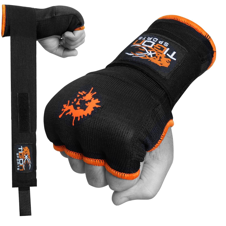 Guantes de boxeo Tigon con vendaje de algodón e interior de gel para MMA (negros) Tigon Sports