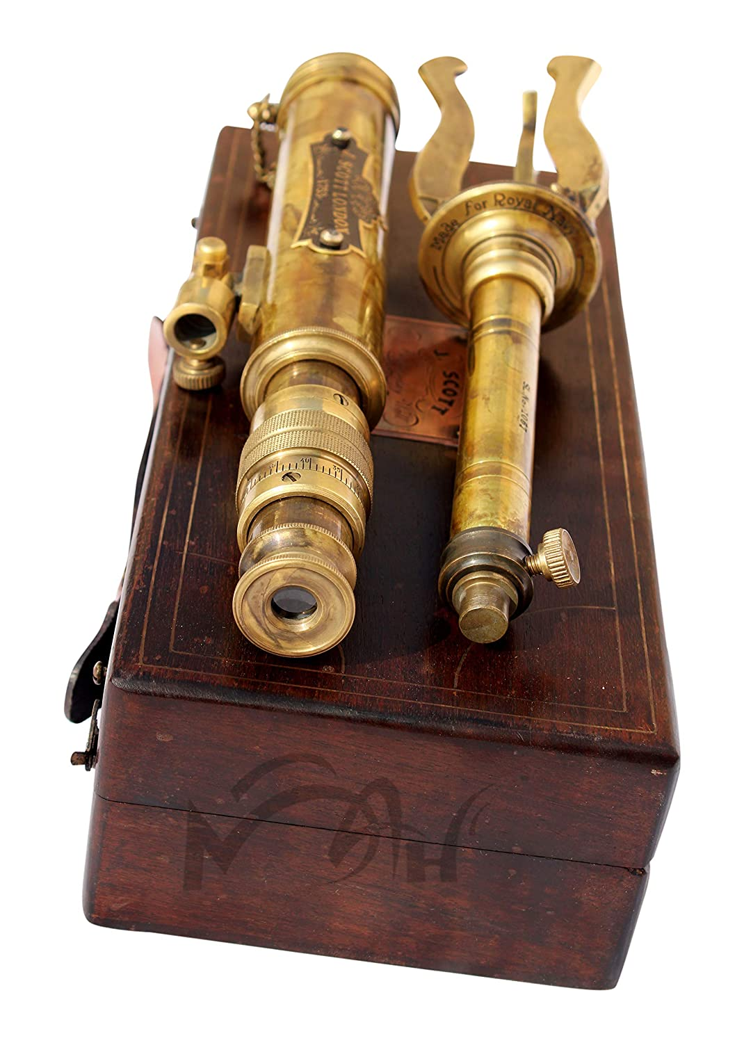 C-3201 MAH 11inch Vintage Style Marine Spyglass Brass Stand Telescope with Wooden Box