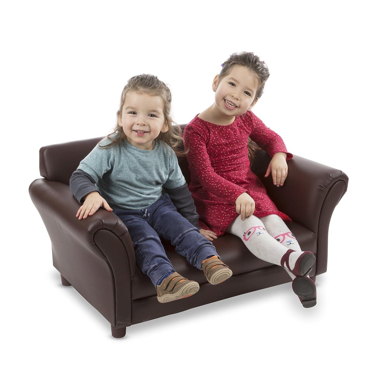 Melissa & Doug Child's Sofa - Coffee Faux Leather Children's Furniture - Amazon Exclusive Melissa and Doug 30239