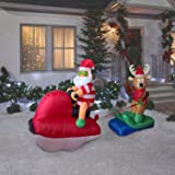4 Foot Christmas Inflatables Airblown Santa and Reindeer on Sled Xmas Blow Up for Outdoor Lawn Yard Decoration
