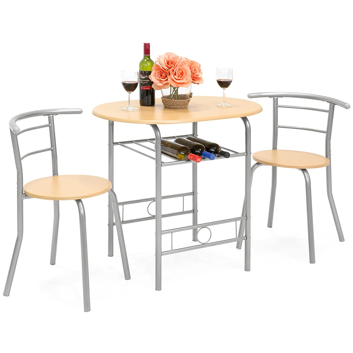 Best Choice Products 3-Piece Wooden Kitchen Dining Room Round Table and Chairs Set w/Built in Wine Rack (Natural)