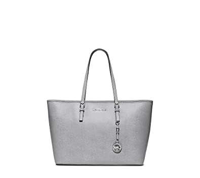 53a1509b533d Amazon.com  MICHAEL Michael Kors Jet Set Travel Saffiano Leather Top-Zip  Tote Dove  Shoes