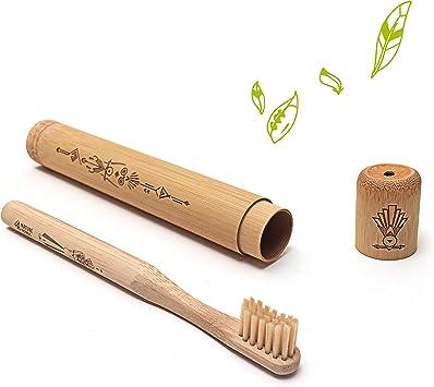 Nature Nerds - Cepillo de dientes de viaje para niños, estuche de bambú incl. cepillo de dientes/funda de cepillo de dientes/soporte de cepillo de dientes/estuche de viaje: Amazon.es: Salud y cuidado personal