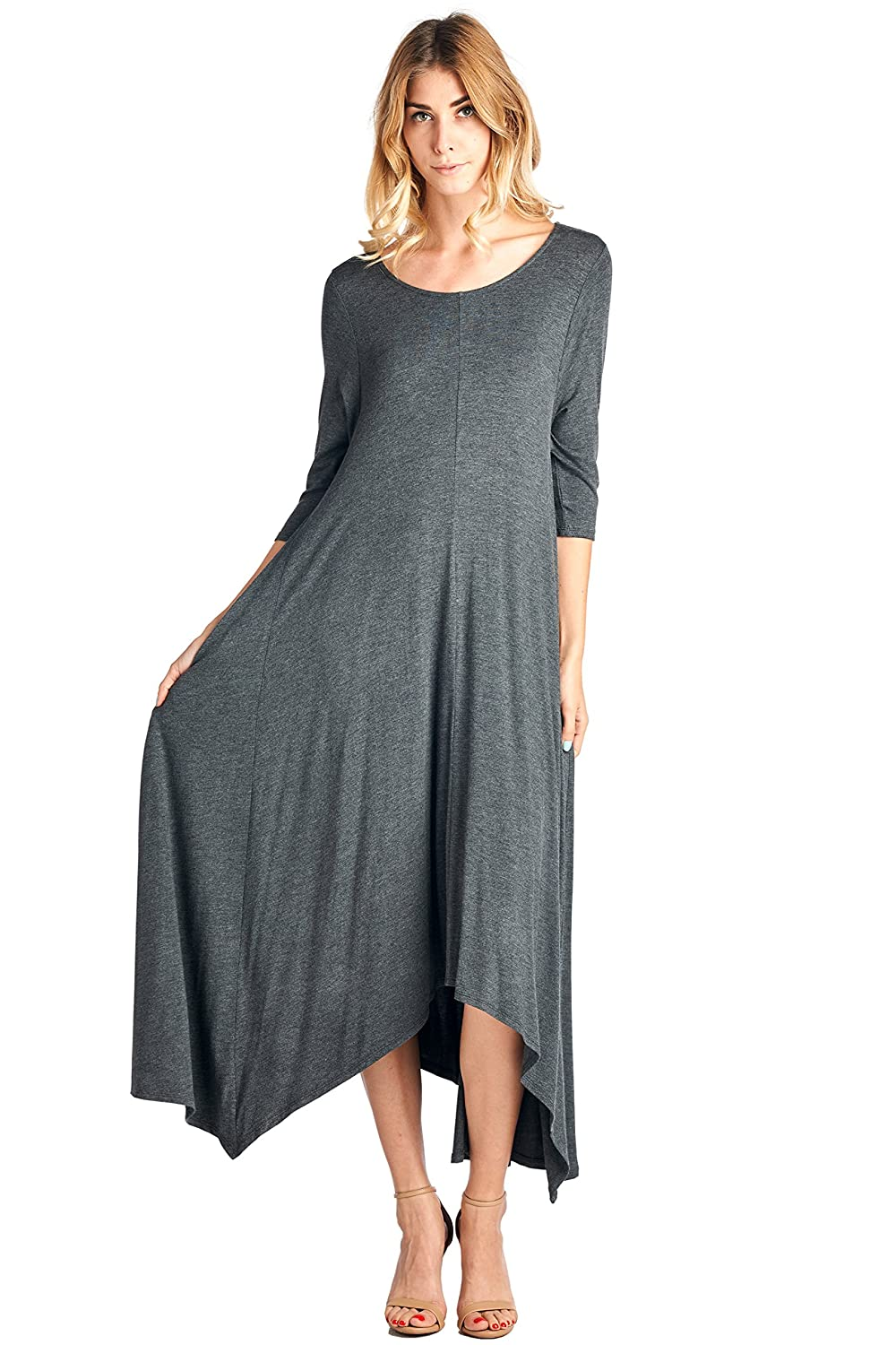12 Ami Solid 3/4 Sleeve Pocket Loose Maxi Dress (S-3X) - Made in USA