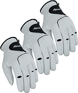 Apical Premium Leather Golf Glove Stable Grip Mens Golf Gloves Durable Value Pack (Pack of 3) Genuine Cabretta Leather Golf Gloves Men Left Hand (Regular Sizes)
