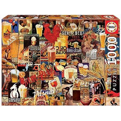 Educa Borras 17970 1000 Vintage Beer Collage Puzzle, Multi-Colour: Toys & Games