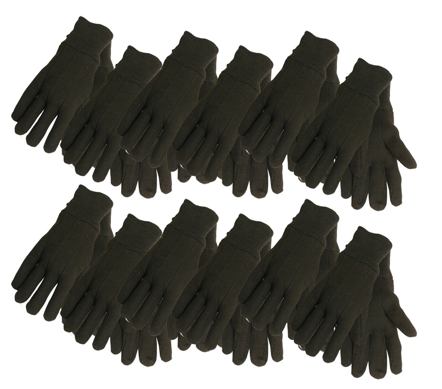 Cotton Jersey Work Gloves, 7792P12, Size: Large, Brown, 12-Pack