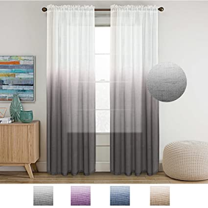 Turquoize Ombre Curtains Grey Sheer 84 Inches Long Rod Pocket Natural Linen Blended Curtain