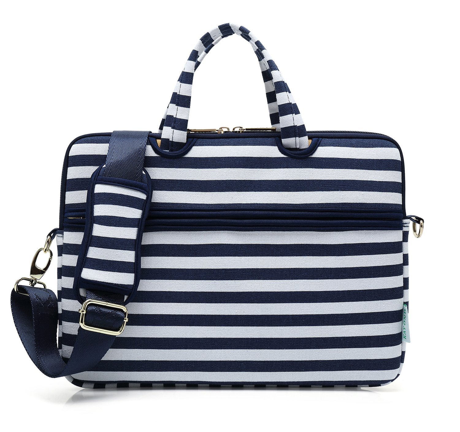 Kayond Canvas Fabric Ultraportable Neoprene Laptop Carrying Case/Shoulder Messenger Bag/Daily Briefcase Work/School/Travel(15-15.6, Breton Stripe) by kayond (Image #1)