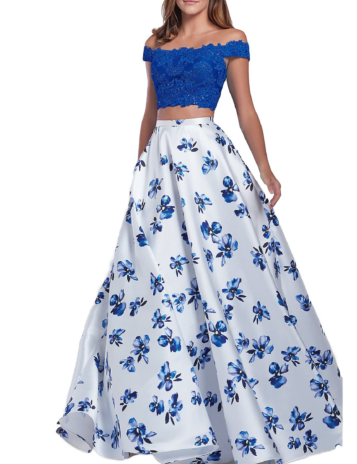 YSMei Women's 2 Piece Floral Print Prom Homecoming Dress Off shoulder Long Party Gown Royal Blue Custom by YSMei