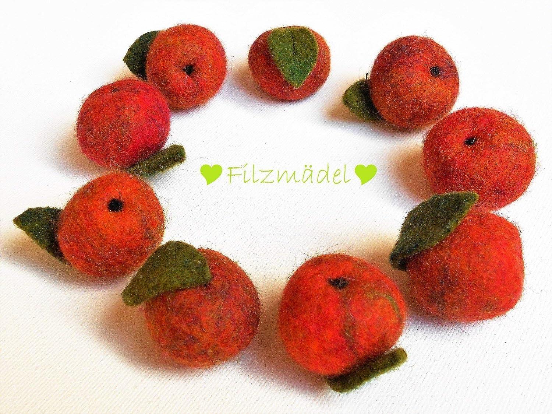 Apfel Filz 9 Stü ck im Set 2, 5 cm bis 3 cm