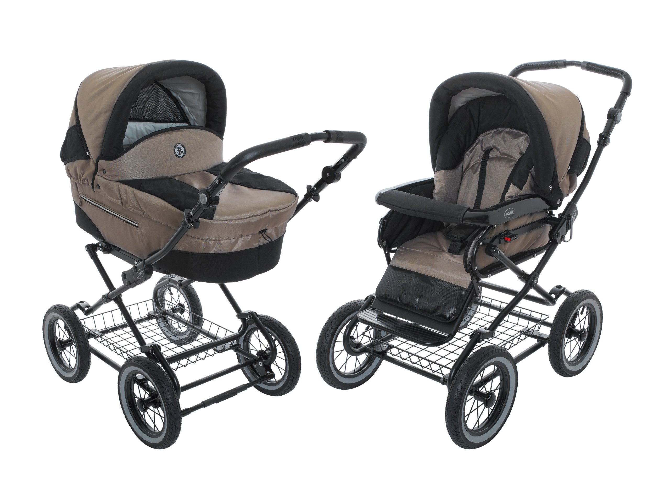 Roan Rocco Classic Pram Stroller 2-in-1 with Bassinet and Seat Unit - Coffee