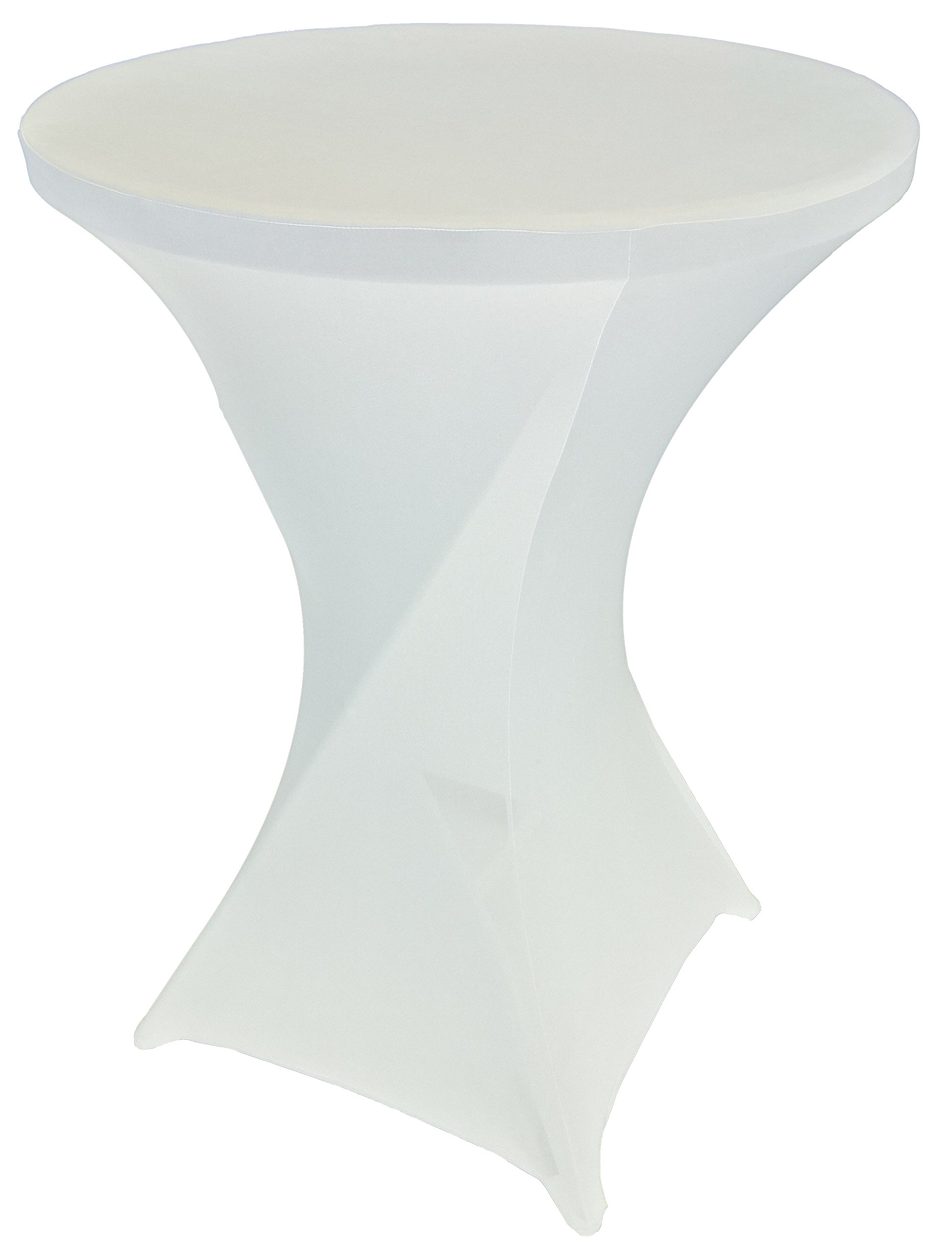 Goldstream Point White 32 Inch Round x 43 Inch Tall Spandex Cocktail Tablecloth Folding Cover Stretch