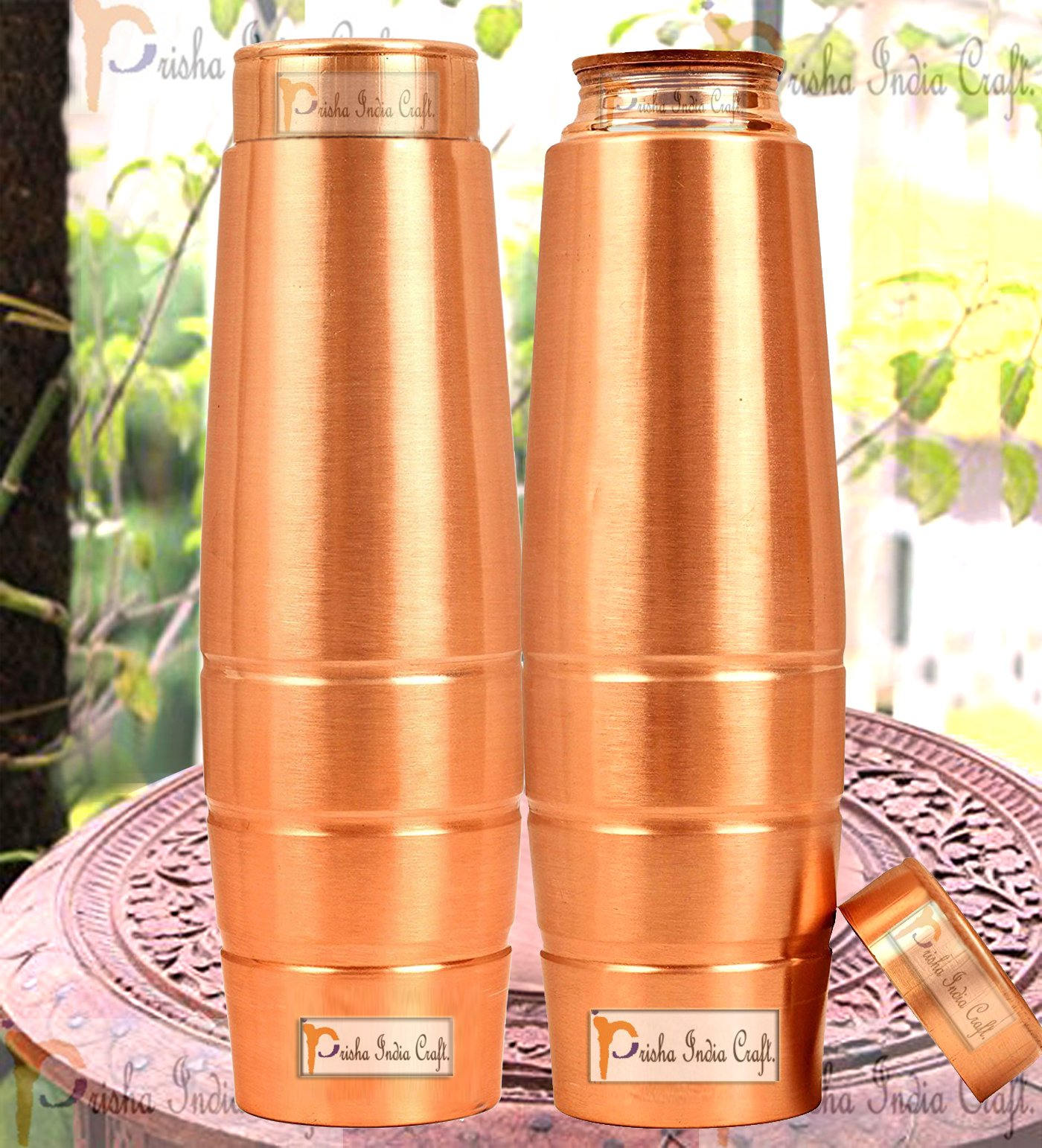 Prisha India Craft New Design Stylish Copper Bottle with Grip, Storage & Travelling Purpose, Yoga Ayurveda Healing, 1000 ML | Set of 2