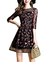 DanMunier Women's 3/4 Sleeve Embroidery Floral With Cami Dress #7651
