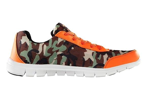 SebroSports SEBRO One Bequemer und stylischer Sneaker Camouflage fuer Herren und Damen Ultra Leichter Sportschuh mit atmungsaktivem Nylon Mesh Obermaterial Camouflage Neon-Orange EU 42 JCOJXK4Cu
