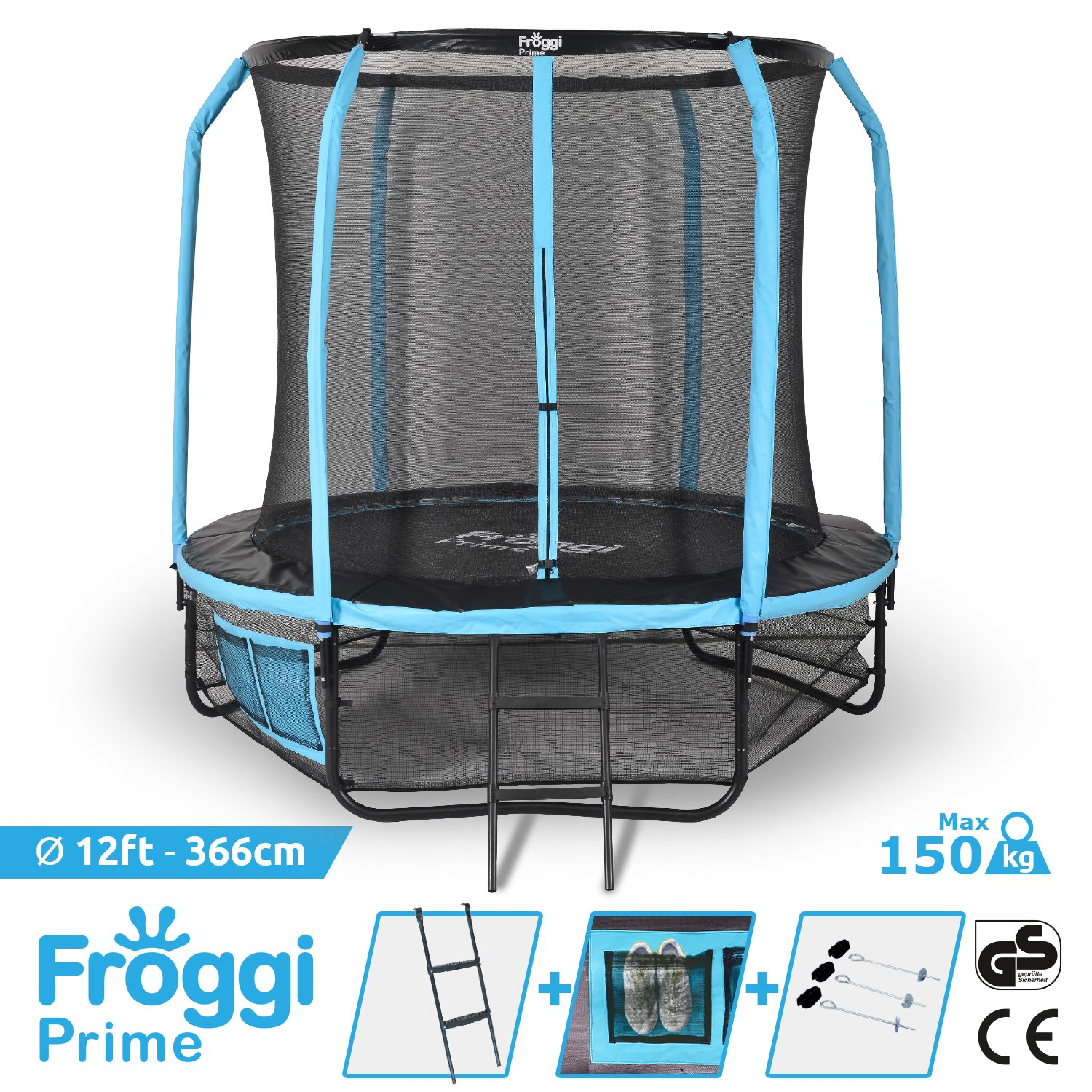 OUTDOOR TRAMPOLINE FROGGI PRIME 366 CM 12FT CE & GS STANDARDS 5 JAHRE GARANTIE