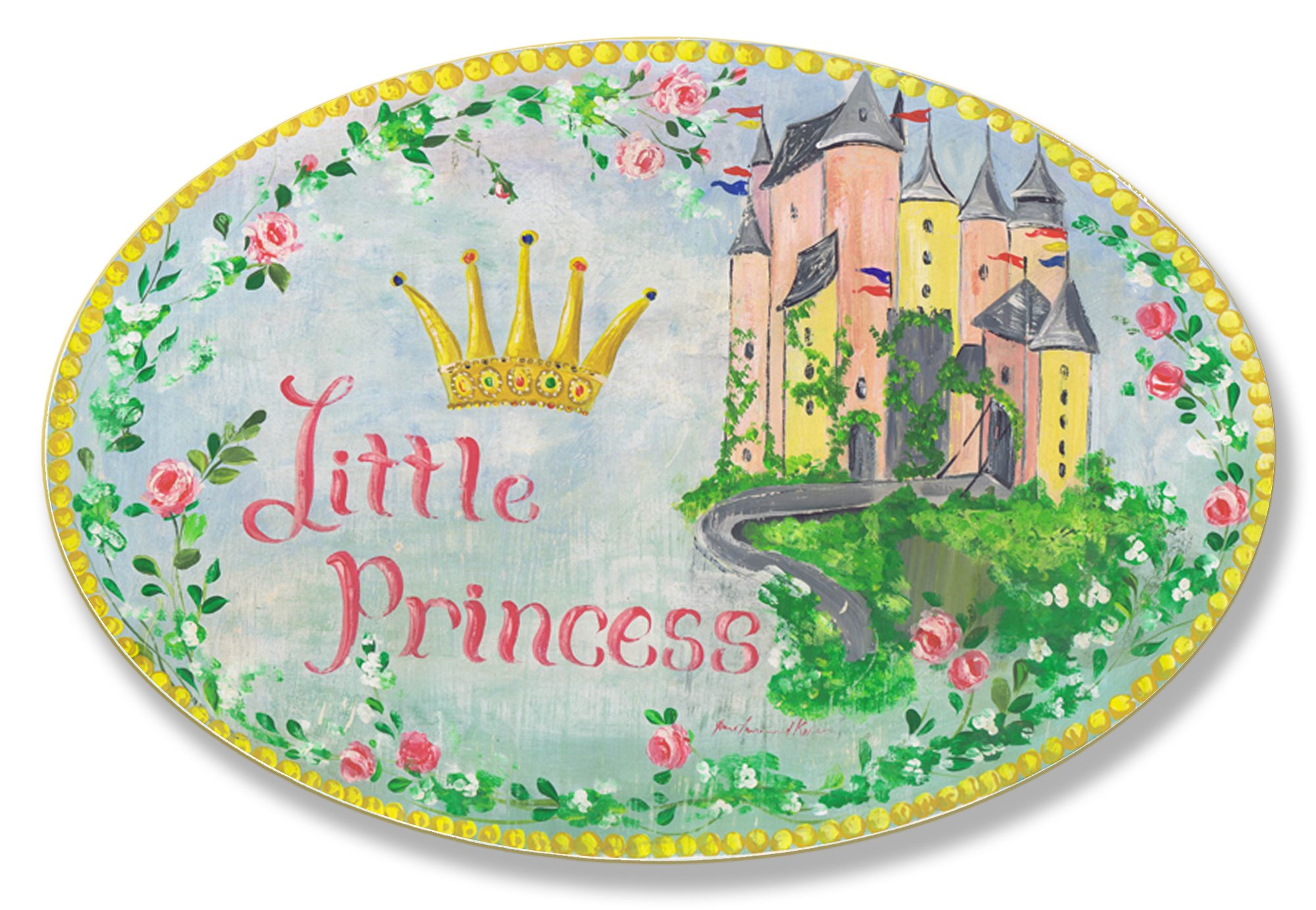 The Kids Room by Stupell Little Princess Floral Border With Castle Oval Wall Plaque, 10 x 0.5 x 15, Proudly Made in USA